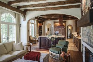 Interior of rustic farmhouse home