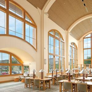 interior of wooden public library design