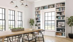 black framed windows within library