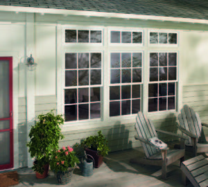 double hung windows outside of home